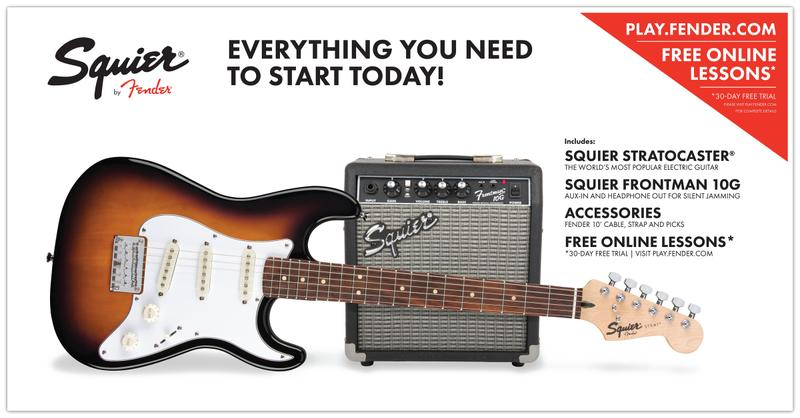 <p>030-1812-632 - Squier&amp;<br>174; Strat Start Pack SSS, Brown Sunburst<br /></p>