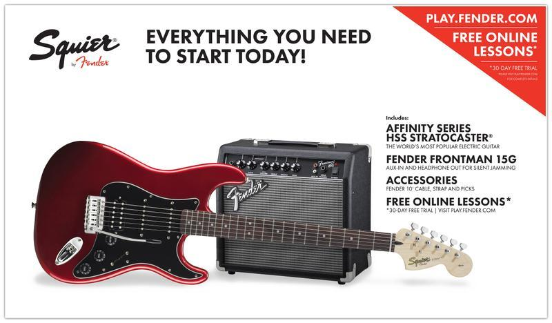<p>030-1814-609 - Squier&amp;<br>174; Affinity Series&amp;<br>8482; Strat&amp;<br>174; Start Pack HSS Candy Apple Red<br /></p>