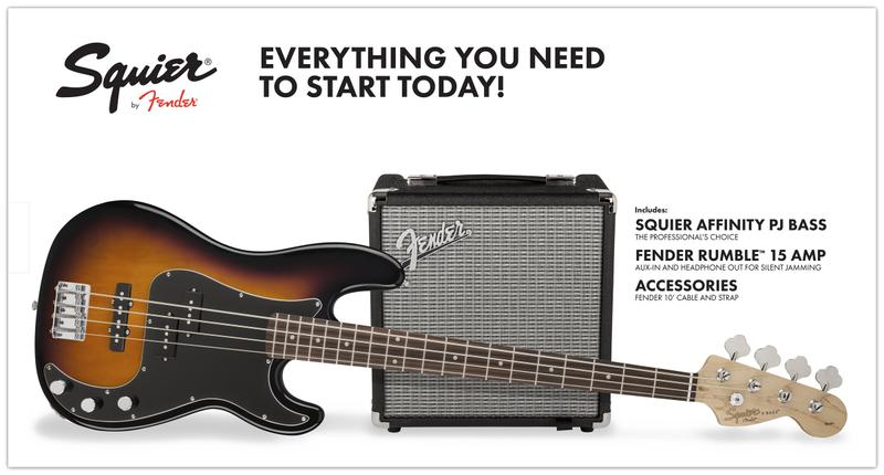 <p>030-1972-632 - Squier&amp;<br>174; Affinity Series&amp;<br>8482; PJ Bass Pack - Brown Sunburst<br /></p>