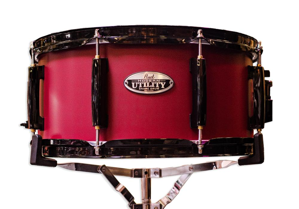 """14"""" x 6.5"""" Pearl Modern Utility 14""""x6.5"""" Snare Drum in #214 Baccara Rose with Black Parts"""
