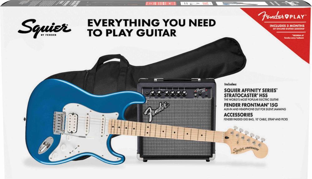 Affinity Series™ Stratocaster® HSS Pack, Maple Fingerboard, Lake Placid Blue, Gig Bag, 15G
