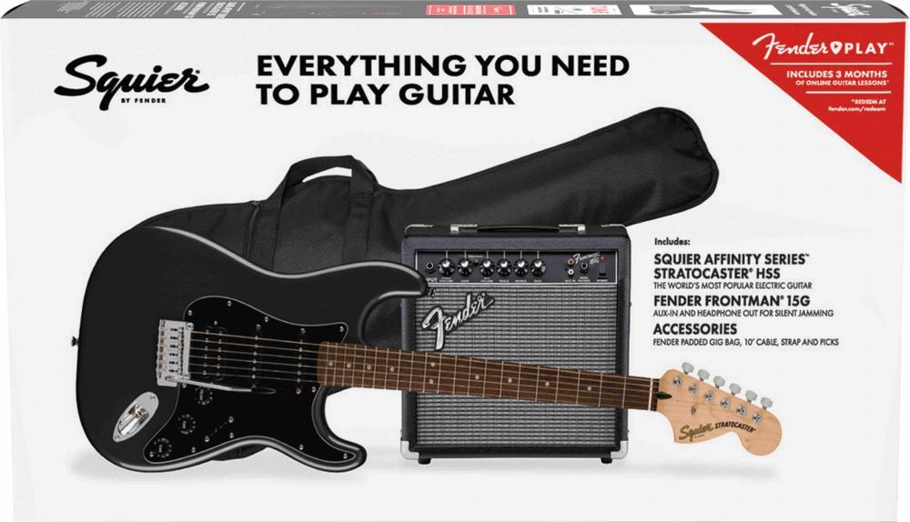 Affinity Series™ Stratocaster® HSS Pack, Laurel Fingerboard, Charcoal Frost Metallic, Gig Bag, 15G