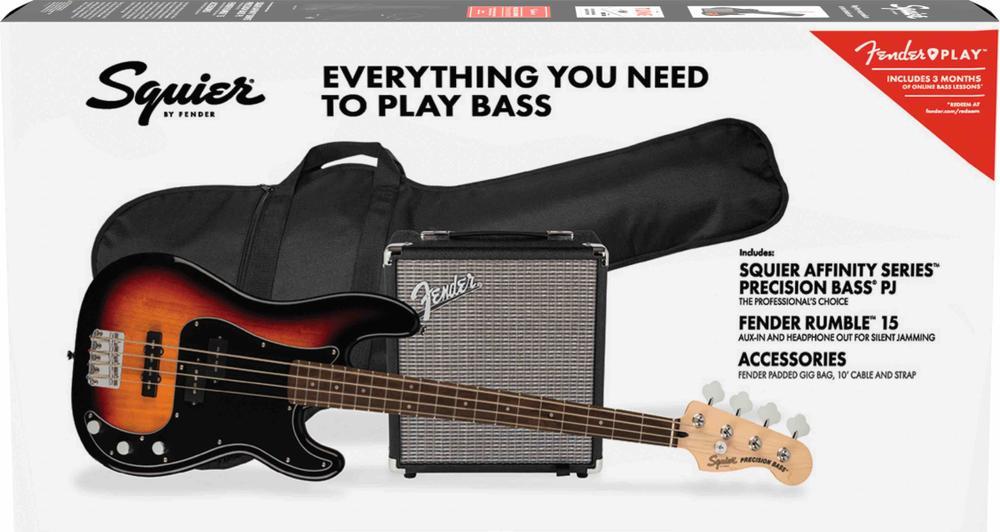 Affinity Series™ Precision Bass® PJ Pack, Laurel Fingerboard, 3-Color Sunburst, Gig Bag, Rumble 15