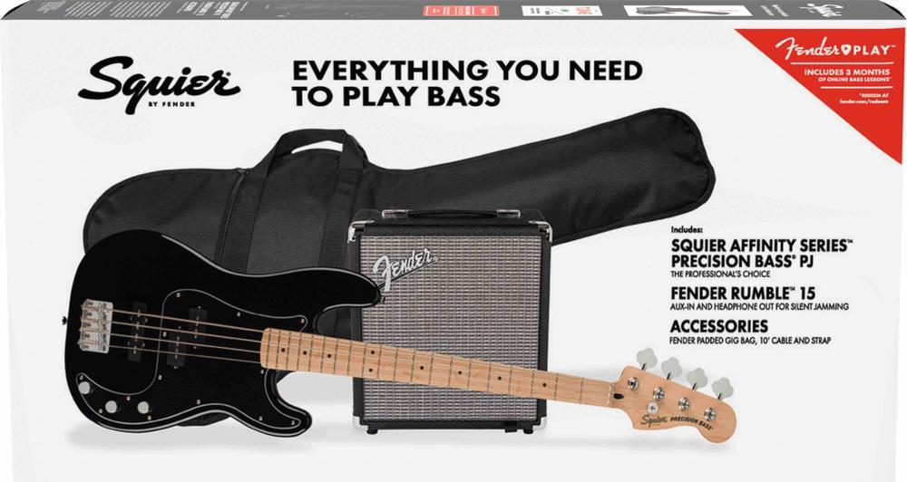 Affinity Series™ Precision Bass® PJ Pack, Maple Fingerboard, Black, Gig Bag, Rumble 15